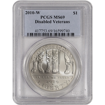 2010-W US Veterans Disabled for Life Commemorative BU Silver Dollar - PCGS MS69