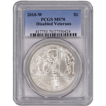 2010-W US Veterans Disabled for Life Commem BU Silver Dollar - PCGS MS70