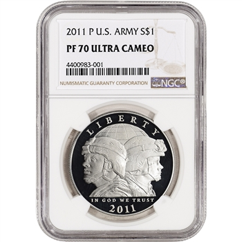2011-P US Army Commemorative Proof Silver Dollar - NGC PF70 UCAM