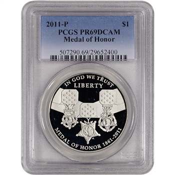 2011-P US Medal of Honor Commemorative Proof Silver Dollar - PCGS PR69DCAM