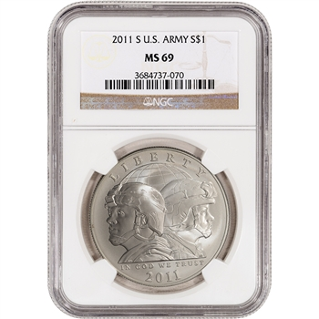 2011-S US Army Commemorative BU Silver Dollar - NGC MS69