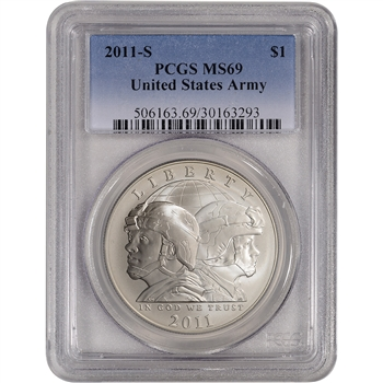 2011-S US Army Commemorative BU Silver Dollar - PCGS MS69