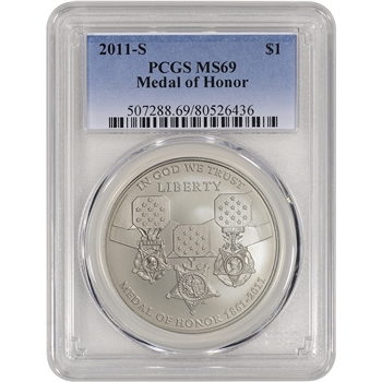 2011-S US Medal of Honor Commemorative BU Silver Dollar - PCGS MS69