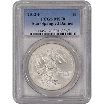 2012-P US Star-Spangled Banner Commemorative BU Silver Dollar - PCGS MS70