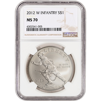 2012-W US Infantry Soldier Commemorative BU Silver $1 - NGC MS70