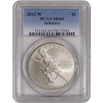 2012-W US Infantry Soldier Commemorative BU Silver Dollar - PCGS MS69