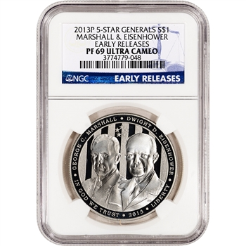 2013-P US 5-Star Generals Commem Proof Silver $1 - NGC PF69 - Early Releases