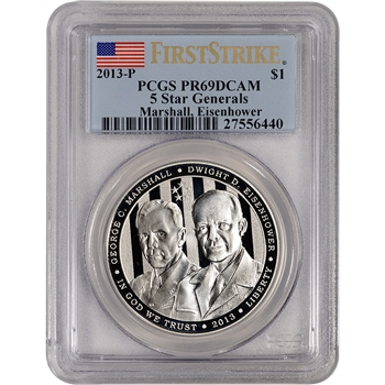 2013-P US 5-Star Generals Commem Proof Silver $1 - PCGS PR69 - First Strike