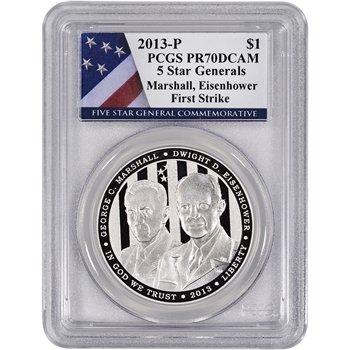 2013-P US 5-Star Generals Commem Proof Silver $1 - PCGS PR70 - First Strike Flag