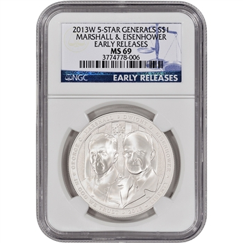 2013-W US 5-Star Generals Commemorative BU Silver $1 - NGC MS69 - Early Releases