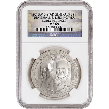 2013-W US 5-Star Generals Commemorative BU Silver $1 NGC MS69 ER Camo Label