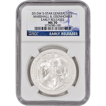 2013-W US 5-Star Generals Commemorative BU Silver $1 - NGC MS70 - Early Releases