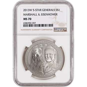 2013-W US 5-Star Generals Commemorative BU Silver $1 - NGC MS70