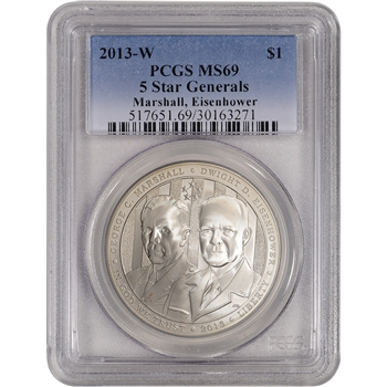 2013-W US 5-Star Generals Commemorative BU Silver $1 - PCGS MS69