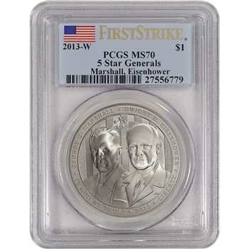2013-W US 5-Star Generals Commemorative BU Silver $1 - PCGS MS70 - First Strike