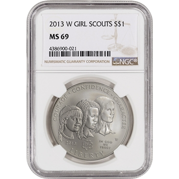 2013-W Girl Scouts Commemorative BU Silver Dollar - NGC MS69