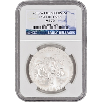 2013-W Girl Scouts Commemorative BU Silver Dollar - NGC MS70 - Early Releases
