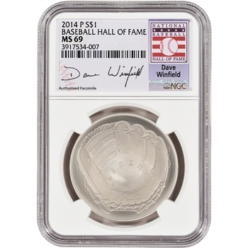 2014-P US Baseball BU Silver $1 - NGC MS69 - HOF Label - Dave Winfield