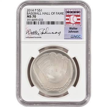 2014-P US Baseball BU Silver $1 - NGC MS70 - HOF Label - Walter Johnson
