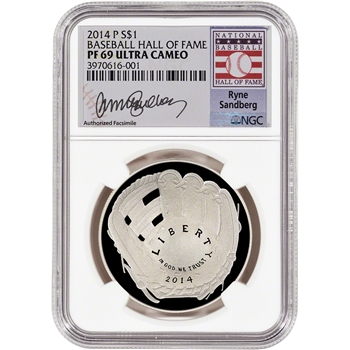 2014-P US Baseball Proof Silver $1 - NGC PF69 - HOF Label - Ryne Sandberg