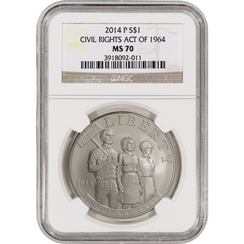 2014-P US Civil Rights Commemorative BU Silver $1 - NGC MS70