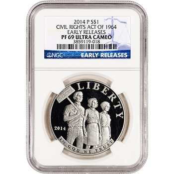 2014-P US Civil Rights Commem Proof Silver $1 - NGC PF69 UCAM - Early Releases