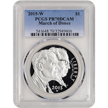 2015-W US March of Dimes Commemorative Proof Silver Dollar - PCGS PR70 DCAM