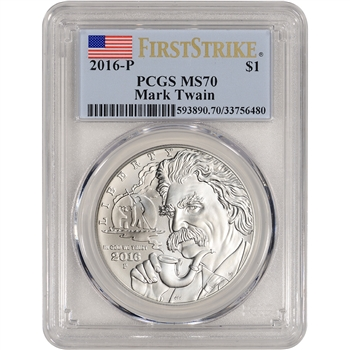2016-P US Mark Twain Commemorative BU Silver Dollar - PCGS MS70 - First Strike