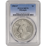 1983-P US Olympic Commemorative BU Silver Dollar - PCGS MS70