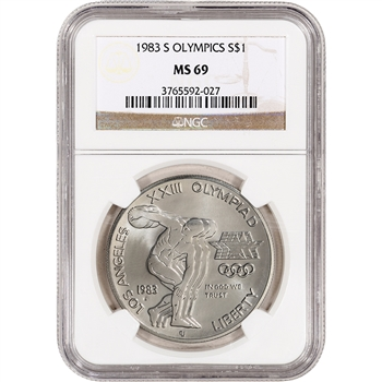 1983-S US Olympic Commemorative BU Silver Dollar - NGC MS69