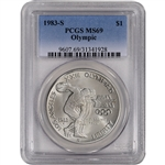1983-S US Olympic Commemorative BU Silver Dollar - PCGS MS69