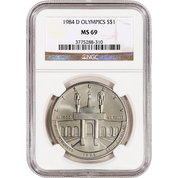 1984-D US Olympic Commemorative BU Silver Dollar - NGC MS69