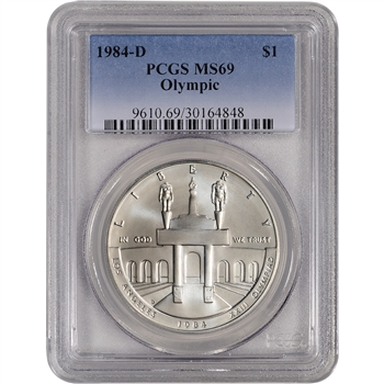 1984-D US Olympic Commemorative BU Silver Dollar - PCGS MS69