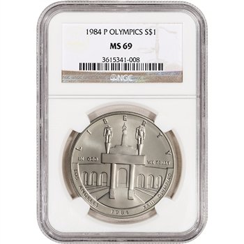 1984-P US Olympic Commemorative BU Silver Dollar - NGC MS69