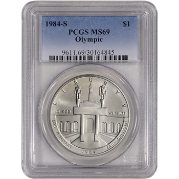 1984-S US Olympic Commemorative BU Silver Dollar - PCGS MS69