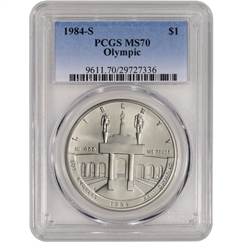 1984-S US Olympic Commemorative BU Silver Dollar - PCGS MS70