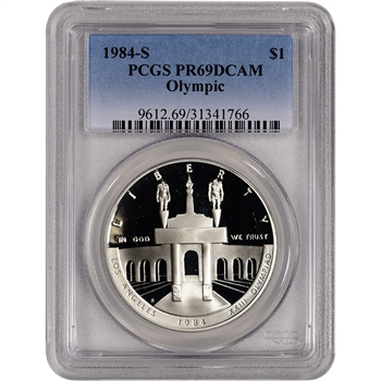 1984-S US Olympic Commemorative Proof Silver Dollar - PCGS PR69DCAM