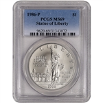 1986-P US Statue of Liberty Commemorative BU Silver Dollar - PCGS MS69
