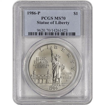 1986-P US Statue of Liberty Commemorative BU Silver Dollar - PCGS MS70