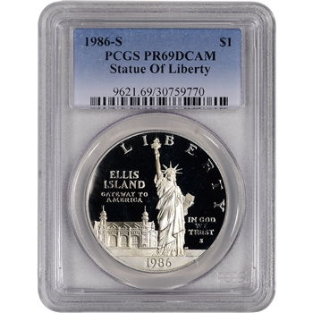 1986-S US Statue of Liberty Commemorative Proof Silver Dollar - PCGS PR69DCAM