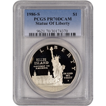 1986-S US Statue of Liberty Commemorative Proof Silver Dollar - PCGS PR70 DCAM