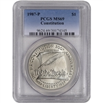 1987-P US Constitution Commemorative MS69 Silver Dollar - PCGS MS69