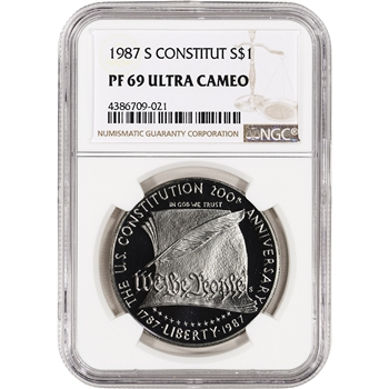1987-S US Constitution Commemorative Proof Silver Dollar - NGC PF69 UCAM