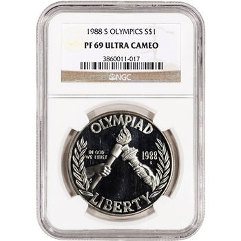 1988-S US Olympic Commemorative Proof Silver Dollar - NGC PF69UCAM