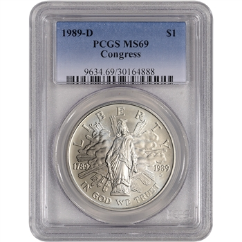1989-D US Congressional Commemorative BU Silver Dollar - PCGS MS69