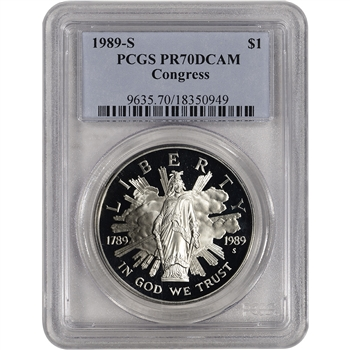1989-S US Congressional Commemorative Proof Silver Dollar - PCGS PR70 DCAM