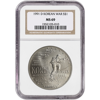 1991-D US Korean War Commemorative BU Silver Dollar - NGC MS69