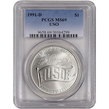 1991-D US USO 50th Anniversary Commemorative BU Silver Dollar - PCGS MS69