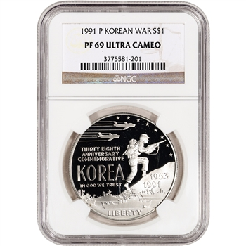 1991-P US Korean War Commemorative Proof Silver Dollar - NGC PF69UCAM