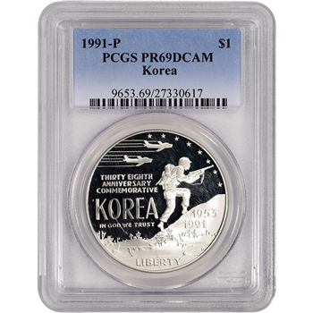 1991-P US Korean War Commemorative Proof Silver Dollar - PCGS PR69DCAM